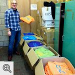 "John Ellison et ses t-shirts ""Climbers Against Cancer""<br />© CAC"