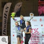 Podium Junior filles du Championnat d'Europe Lead<br />Coll. Facebook Belgian Climbing Team