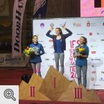 Podium Youth B filles du Championnat d'Europe Lead<br />Coll. Facebook Belgian Climbing Team